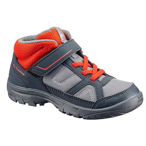 Quechua Kid's Hiking Shoes MH100 MID - Grey Red (UK9.5C - EU28)