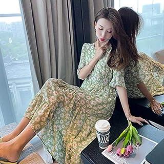 Short Sleeve Dress Slim Waist Fairy Floral Chiffon Long Skirt High Quality (Color : Green, Size : XXL)
