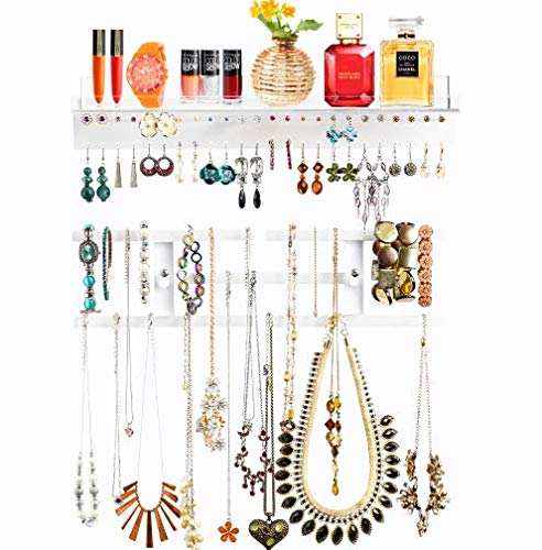 Wall Jewelry Organizer, Hanging Crystal-Clear Acrylic Jewelry Holder with Shelf, Wall Mounted, to...