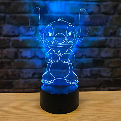 Cartoon Stitch 3D Lamp Bedroom Table Night Light Acrylic Panel USB Cable 7 Colors Change Touch Base Lamp Kids Gift,7colors+touch