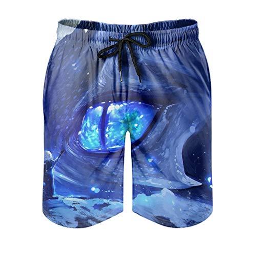 Dessionop Pantalones cortos de playa para hombre y niña, diseño de dragón azul, con forro de bolsillo, cómodos, blancos, 6XL