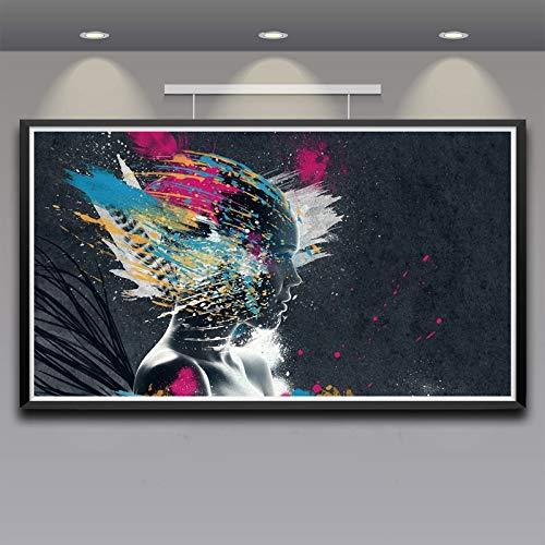 N / A Pittura Senza Cornice Arte Colorata Arte Digitale in Seta Poster Decorazione della casa pittura33X60cm