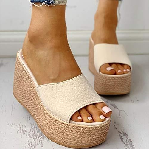 DZQQ Moda 2021 Nuevas Sandalias de Verano para Mujer, Zapatos con Punta Abierta, cuñas Informales de tacón Alto para Mujer, Zapatos de tacón Alto
