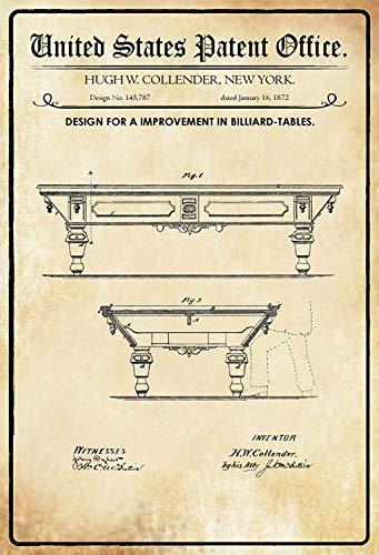 NWFS Patent Entwurf für einen Billardtische Blechschild Metallschild Schild Metal Tin Sign gewölbt lackiert 20 x 30 cm
