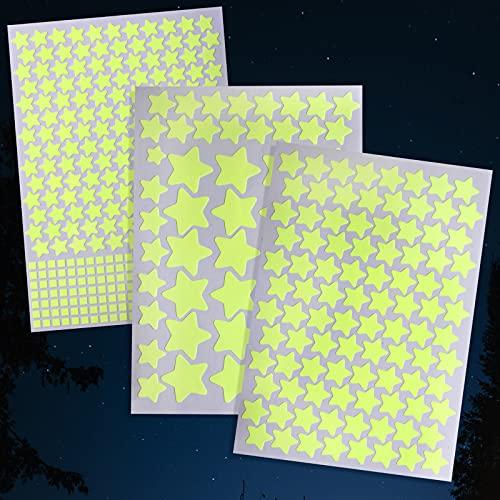 Zeaye estrellas luminosas, puntos luminosos - 452 etiquetas autoadhesivas, de pegatina de luz fluorescente para su estrella del cielo, estrellas brillantes Nursery