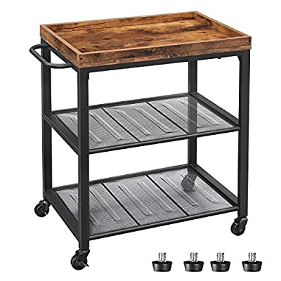 VASAGLE INDESTIC Kitchen Serving Cart, Universal Casters with Brakes, Leveling Feet, Kitchen Shelf with Mesh Shelves, 23.6 x 15.7 x 29.5 Inches, Rustic Brown ULRC75BX from VASAGLE