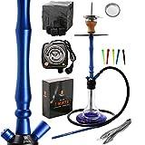 Kaya ELOX Eco 480 Hookah2 Set Completo - 70cm narguile - con Chimenea, Calentador electrónico, carbón Natural (Azul)