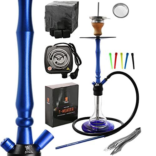 Kaya ELOX Eco 480 Hookah2 Komplett Set - 70cm Shisha - inkl. Kamin, E-Heater, Naturkohle, Zange (blau)