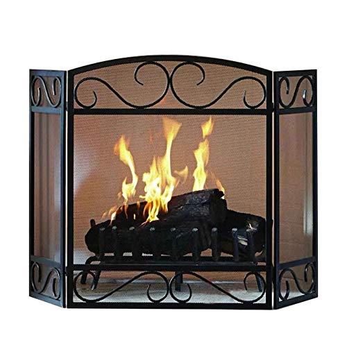 Especialidades de diseño Pantalla clásica de la chimenea, 3 paneles resistentes de la chispa de hierro forjado, negro cubierto de chispa exterior de interior, cerca de la estufa de leña Baby S