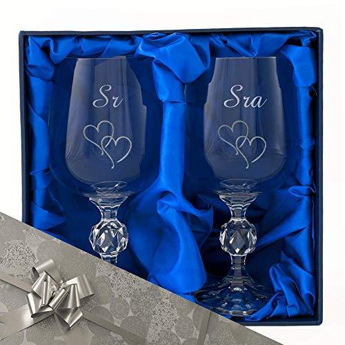 The Engraving Gallery Sr. y Sra. Un par de Copas de Vino en Caja de presentación. Grabado profesionalmente. Incluye Papel de Regalo y Cinta. Regalo de Matrimonio, Regalo de Boda.