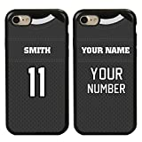 Custom Football Jersey Cases for iPhone 7/8 by Guard Dog – Personalized Sports – Your Name and Number on a Protective Hybrid Phone Case. Incl.Guard Glass Screen Protector (Black/Black)
