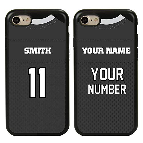 Custom Football Jersey Cases for iPhone 7/8/SE by Guard Dog – Personalized Sports – Your Name and Number on a Protective Hybrid Phone Case. (Black/Black)