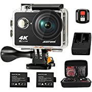 Maifang Sports Camera, Waterproof 4K WIFI Action Camera With Remote, 2.0 Inch LTPS Screen 1080P 60FPS 12MP Action Cam 170 Degree Fish-eye Lens With 2 batteries Camera Bag(Black)