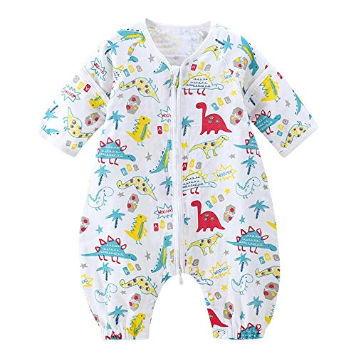 QinWenYan Saco de Dormir para Bebé Delgada de algodón de la Manga del Saco de Dormir extraíble Saco de Dormir cómodo Suave Saco de Dormir para Niños Pequeños (Color : Multi-Colored, Size : M)