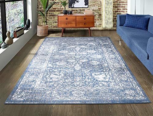 A2Z Rug|Santorini 6076 Blue Vintage Style Floral Pattern With Border|Studio Suite Modern Transitional Area Rug|Soft Short Medium Pile|120x170cm-3'11' x5'7 ft|Small Traditional Carpets Rugs