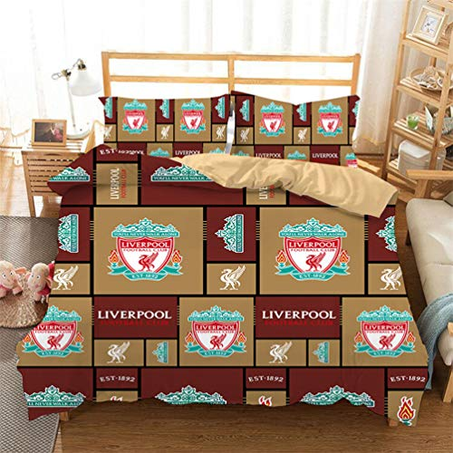 HESOA LL Duvet Cover and Pillowcase for Double Bed or Single Bed Liverpool Football Soccer Club Match F.C,B,US-Twin