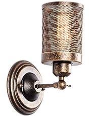 Industriële Wandlamp, LULING Steampunk Metalen Net Lampenkap Interieur Vintage Wandlamp Verstelbare Socket voor Garage Gate Veranda Hal (GEEN Lamp)