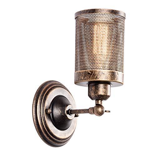 Industriële Wandlamp, LULING Steampunk Metalen Netto Lampenkap Interieur Vintage Wandlamp Verstelbare Stopcontact voor Garage Gate Porch Hallway(NO Bulb)