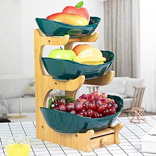Frutero de cerámica de varios pisos con soporte de madera, duradero, para decoración de cocina, verduras, frutas, aperitivos (3 niveles, verde)