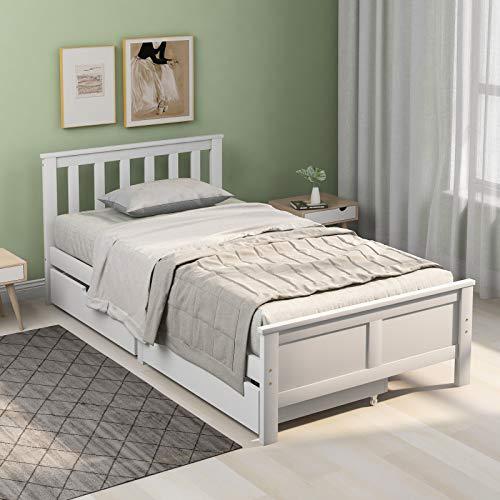 Blanketswarm Marco de madera de pino blanco con cajones, muebles de dormitorio para adultos, niños, adolescentes (190 x 90 cm)