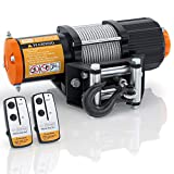 ORCISH 12V 4500LBS Electric Steel Cable ATV Winch Kits for Towing ATV/UTV Off Road Trailer with Wireless Remote Control Mounting Bracket.