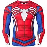 Nessfit - Sudadera de compresin para hombre de manga larga con capa base trmica para gimnasio, superhroe, color Spiderman PRO, tamao medium