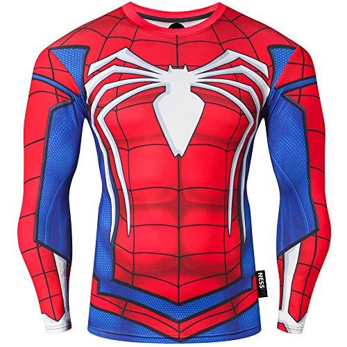 Nessfit Superhero - Felpa termica da uomo, a maniche lunghe, per allenamento e fitness, da palestra