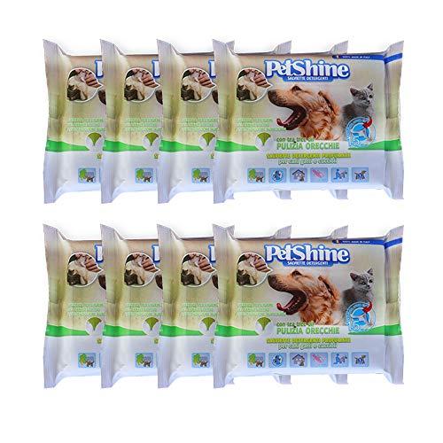 PETSHINE 120 Desinfektionstücher Ohrreiniger für Hunde Katzen Haustiere 20X20cm Reinigungstücher mit Teebaumöl, Feuchttücher Ohrreiniger ohne Alkohol und Parabene