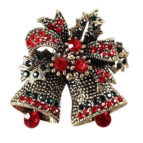 Yazilind Weihnachten Brosche Baum Santa Socken Strümpfe Glocke Rentier Hirsch Blume Kranz Boutonniere Strass Weihnachten Schmuck Geschenke (Bell-2)