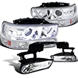 Spec-D Tuning for Chevy Silverado Chrome LED Halo Projector Headlights+Bumper Lights+Fog Lamps