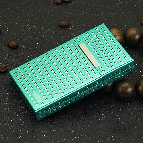 AMDHZ Aluminium Etui Frauen höhlen Design Magnet Saug-Flip Metall Zigarettenschachtel kann Feine Beherbergungs Zigaretten 20 Zigarettenschachtel für Herre (Color : Green, Size : 106X60X16MM)