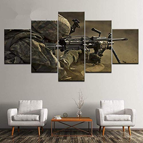 5 Piece Canvas Wall Art 150X80Cm Modular HD Prints Pictures Wall Art Modern Canvas Paintings 5 Pieces Soldiers Sniper Poster For Living Room Home Decor -Modern Family Painting (ELL927)