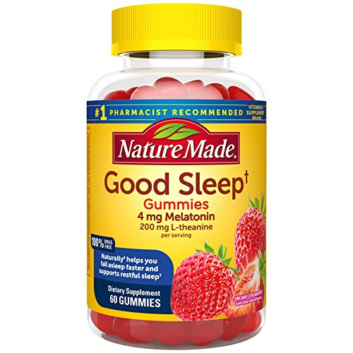 Nature Made Good Sleep Gummies, 4mg Melatonin + 200 mg L-theanine, 60 Count