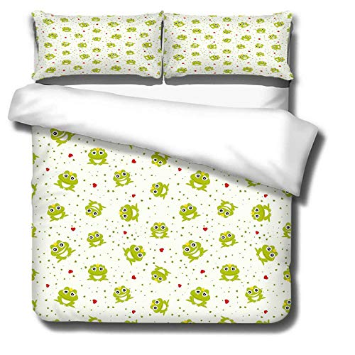 DJDSBJ Duvet Cover Single135x200cm bedding set,Polyester cotton quilt cover with zipper closure+2 pillowcases.Style for adults and children: Cute frog