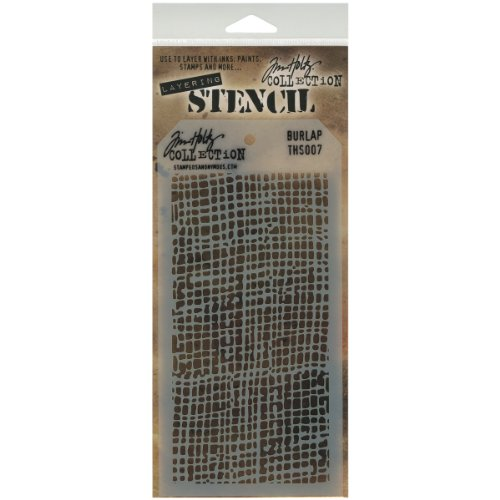 """Stampers Anonymous Tim Holtz Layered Stencil 4.125""""X8.5""""-Burlap"""