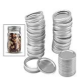48 Pcs Stainless Steel Lids & Bands for Mason Jar Regular Mouth Split-Type Leak Proof Airtight Reusable Jar Lids for Mason Storage Caps (24pcs Lids&24pcs Bands) (Sliver)
