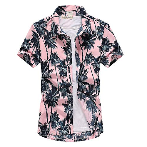 Fansu 3D Camisa Hawaiana para Hombre, Tropical de Manga Corta Impreso Casual Enrrollada Camisas Playa M-XXL (Rosado,XXL)
