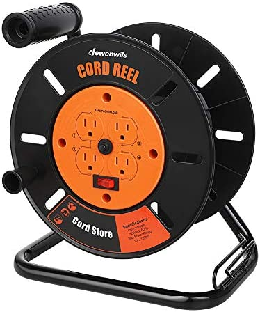 DEWENWILS Extension Cord Storage Reel with 4 Grounded Outlets Heavy Duty Open Cord Reel for product image