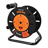 DEWENWILS Extension Cord Storage Reel with 4-Grounded Outlets, Heavy Duty Open Cord Reel for 12/3,14/3,16/3 Gauge Power Cord, Hand Wind Retractable, 10A Circuit Breaker, Rocker Power Switch
