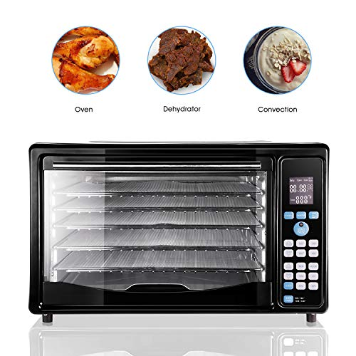GOLUX Multi-Use Large Convection Countertop Toaster Ovens 27QT with Dehydrator Machine for Grill Bake Pizza Turkey Bread Cookies Reheat Dehydrate, 5 Drying Trays Digital Temperature Controls and Timer