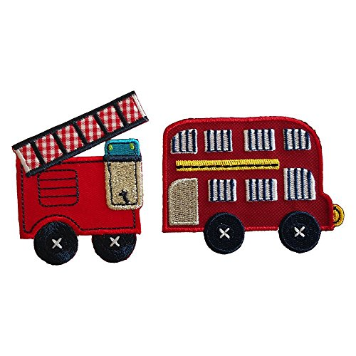 Doppeldecker-Bus 8X6cm Feuerwehrwagen 6X8cm flicken Kleider Aufnäher Stoff Patch zum Aufbügeln auf Turnsack Fahne Wimpel Türschild Kissen Hemd Jeans Rock Hosen Kleider Kappe Hut Jacke Schal Halstuch