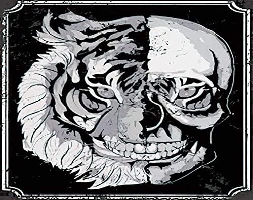 Skull DIY Jigsaw Puzzle, Gothic Brush Danger Dark Dead Death Devil Emblem Evil Flowers Grunge Head 6000 piezas Rompecabezas de madera Los mejores juegos de descompresión familiar para adultos 180x106