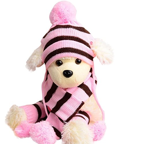 LNGRY 6Pc/Set Dog Pet Puppy Hat Scarf Leg Warmer Pet Clothes (Pink, XXS) - http://coolthings.us
