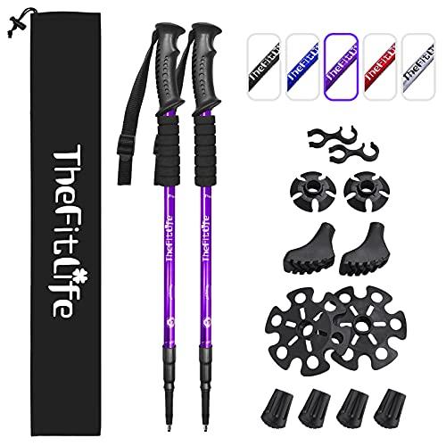 TheFitLife Bastoni da Trekking e Camminata Nordica - Confezione da 2 Pezzi con Ammortizzatore e Sistema di Blocco Rapido, Telescopico, Estensibile, Ultraleggero per Escursionismo Campeggio - Viola