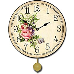 Country Floral Pendulum Wall Clock, Available in 5 Sizes, Whisper Quiet, Non-Ticking