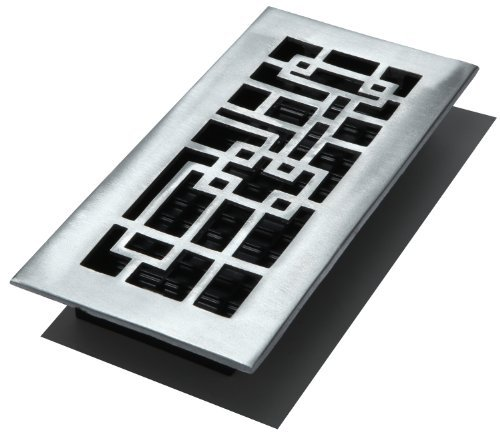 Brushed Nickel Decor Grates SPH408-NKL 4-Inch by 8-Inch Scroll Floor Register