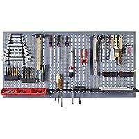 Küpper 70100 - Set de tres chapas de acero perforado con ganchos para herramientas para pared, 120 x 60 cm