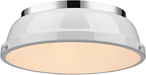 high quality Golden Lighting lowest 3602-14 CH-WH Duncan Flush Mount, Chrome lowest with White Shade sale