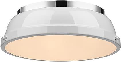 Golden Lighting 3602-14 CH-WH Duncan Flush Mount - Damp, Chrome