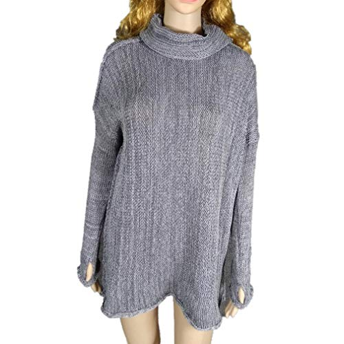 HX fashion Pullover Dames Lange Elegante Herfst Comfortabele Maten Winter Warme Longsleeve Coltrui Gebreide Trui Vintage Comfortabele Mode Relaxte Grof Gebreide Trui